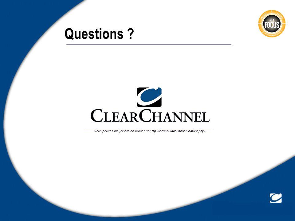 Questions ? Vous pouvez me joindre en allant sur http://bruno.kerouanton.net/cv.php