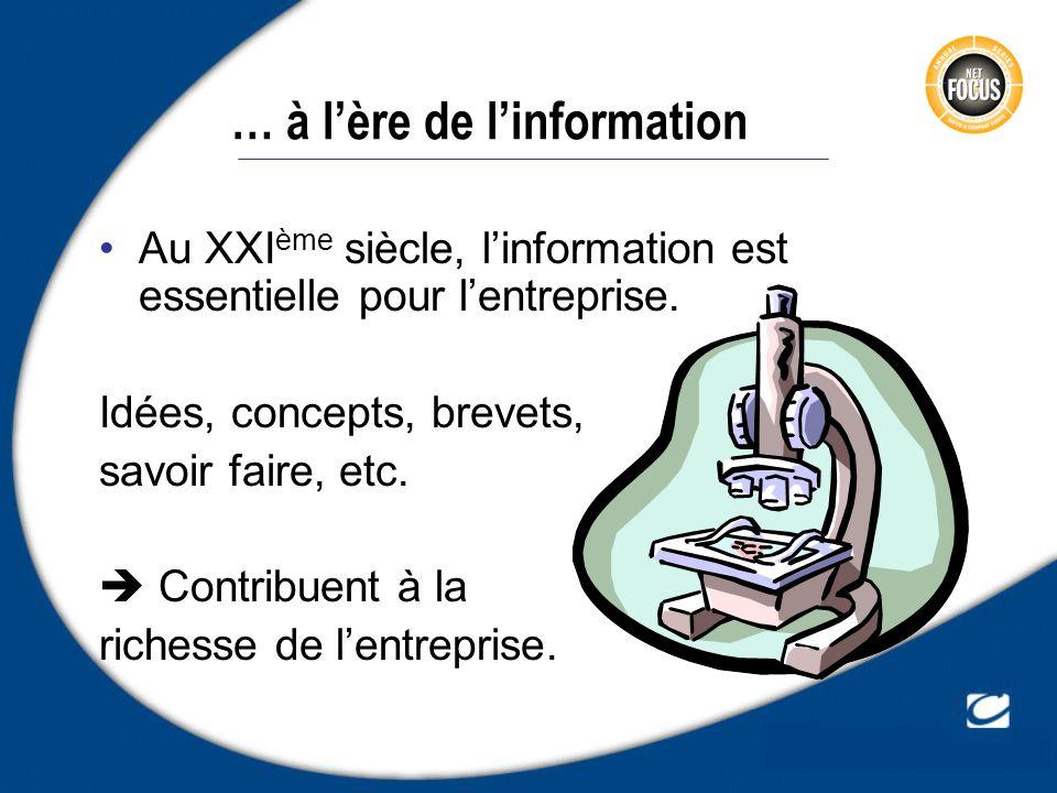 … à lère de linformation Au XXI ème siècle, linformation est essentielle pour lentreprise. Idées, concepts, brevets, savoir faire, etc. Contribuent à