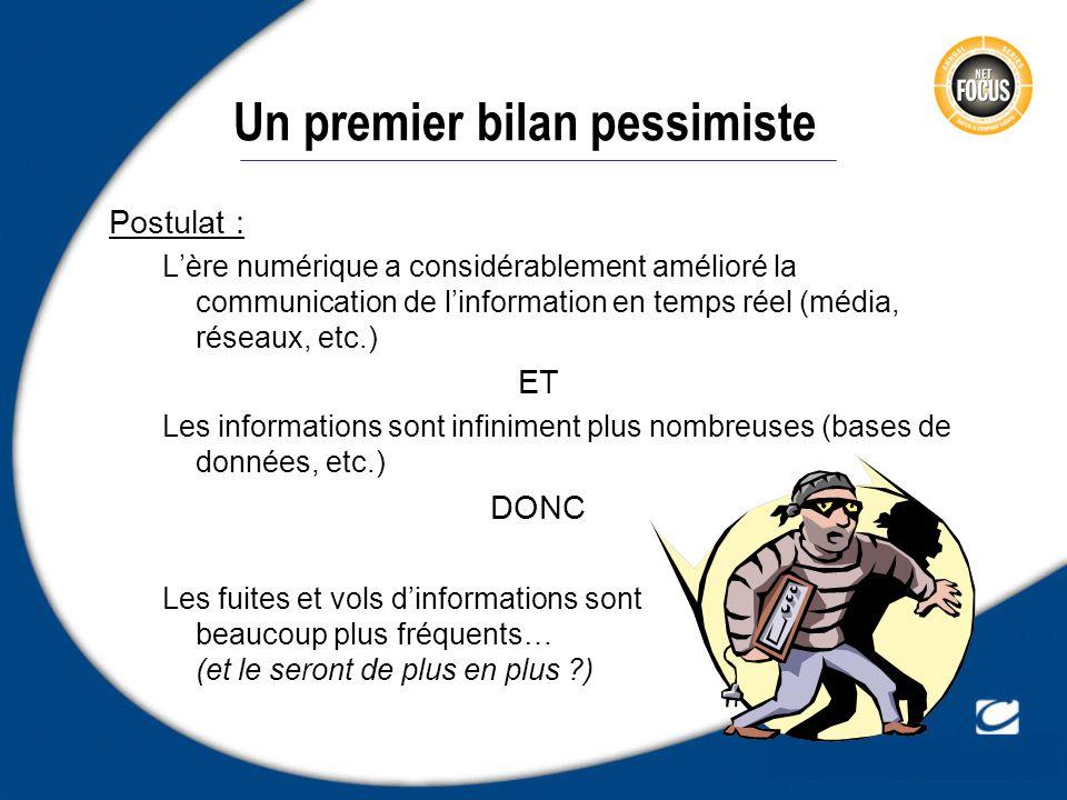 Un premier bilan pessimiste Postulat : Lère numérique a considérablement amélioré la communication de linformation en temps réel (média, réseaux, etc.