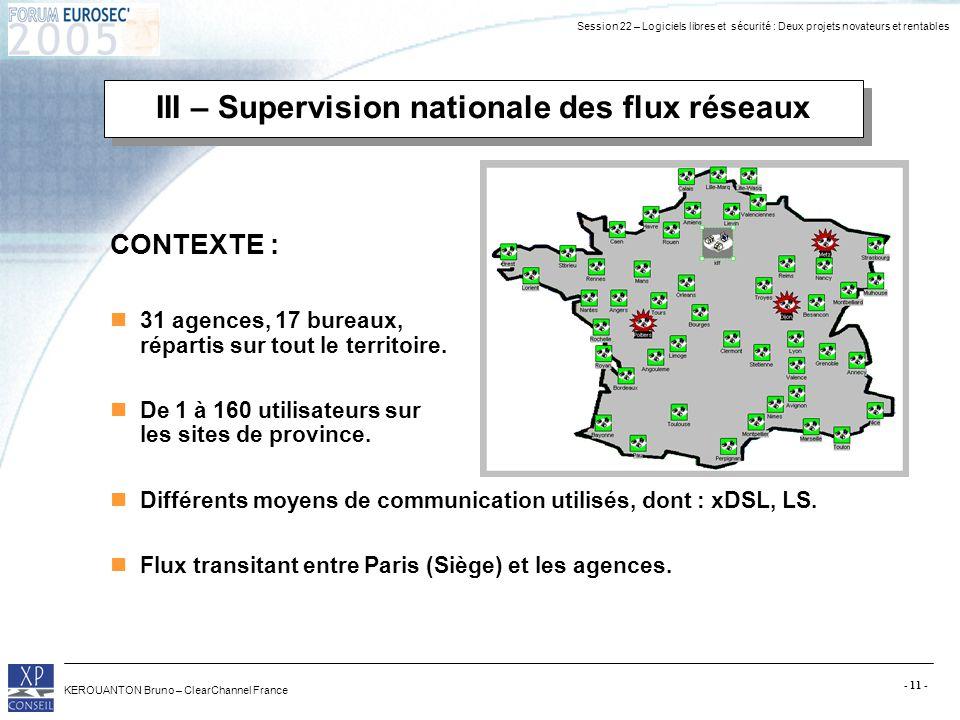 Session 22 – Logiciels libres et sécurité : Deux projets novateurs et rentables KEROUANTON Bruno – ClearChannel France - 11 - III – Supervision nation