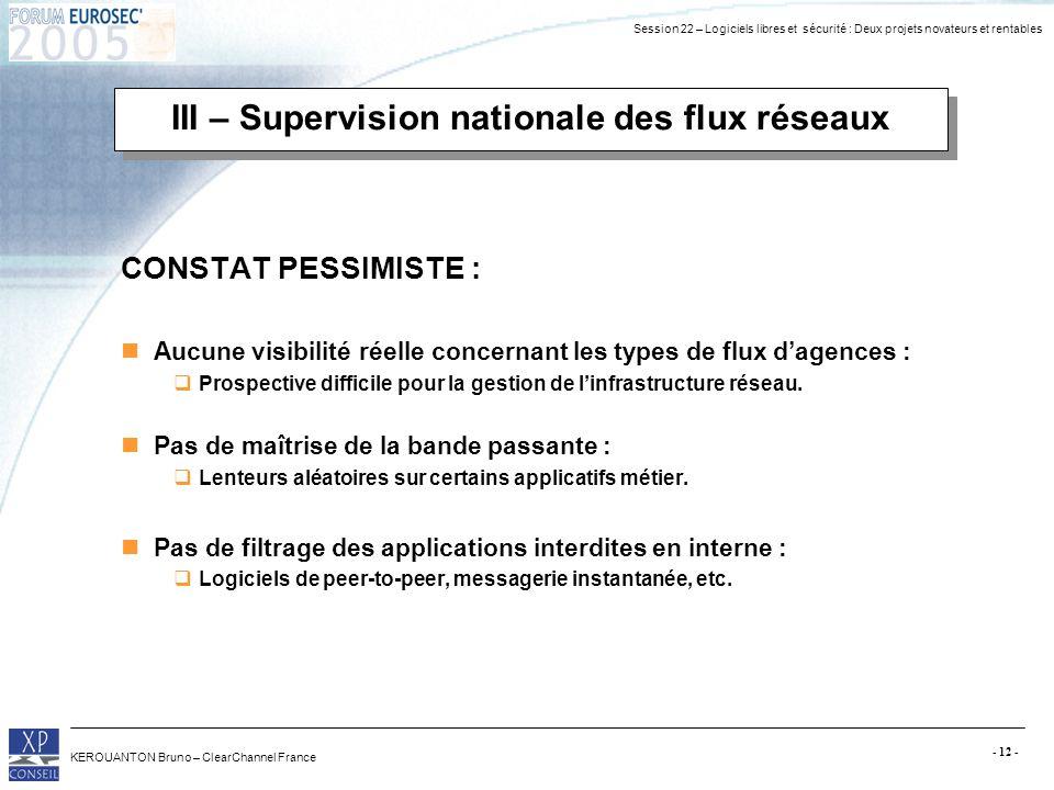 Session 22 – Logiciels libres et sécurité : Deux projets novateurs et rentables KEROUANTON Bruno – ClearChannel France - 12 - III – Supervision nation