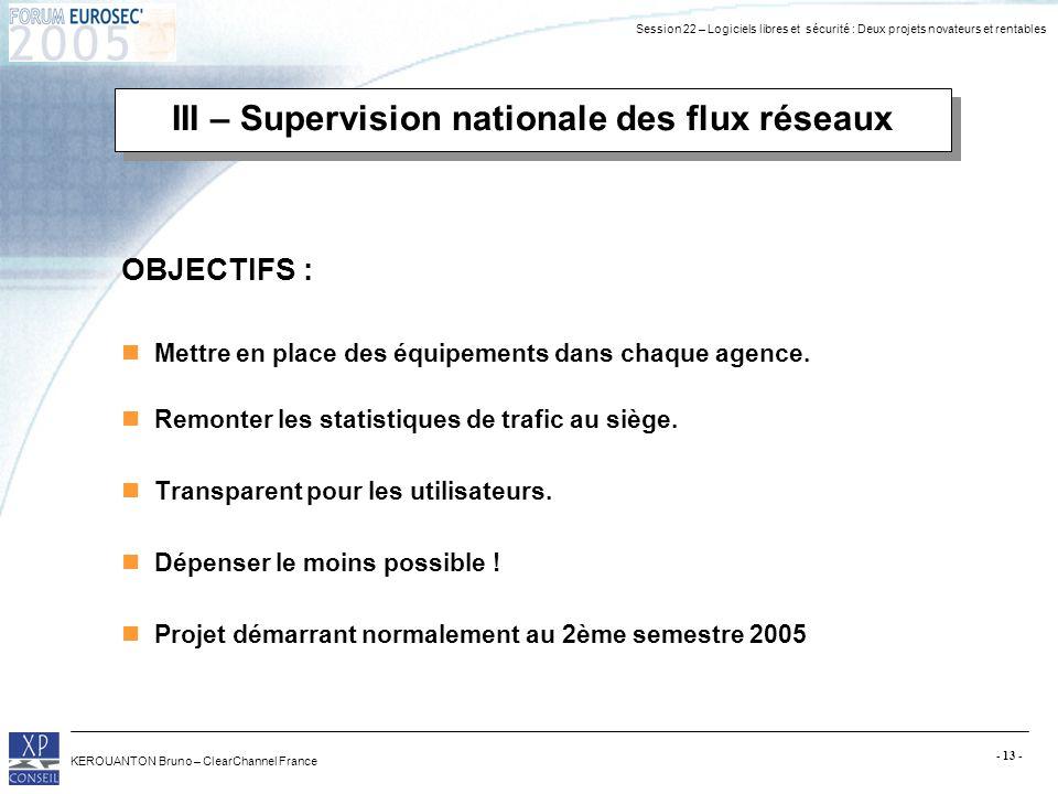 Session 22 – Logiciels libres et sécurité : Deux projets novateurs et rentables KEROUANTON Bruno – ClearChannel France - 13 - III – Supervision nation