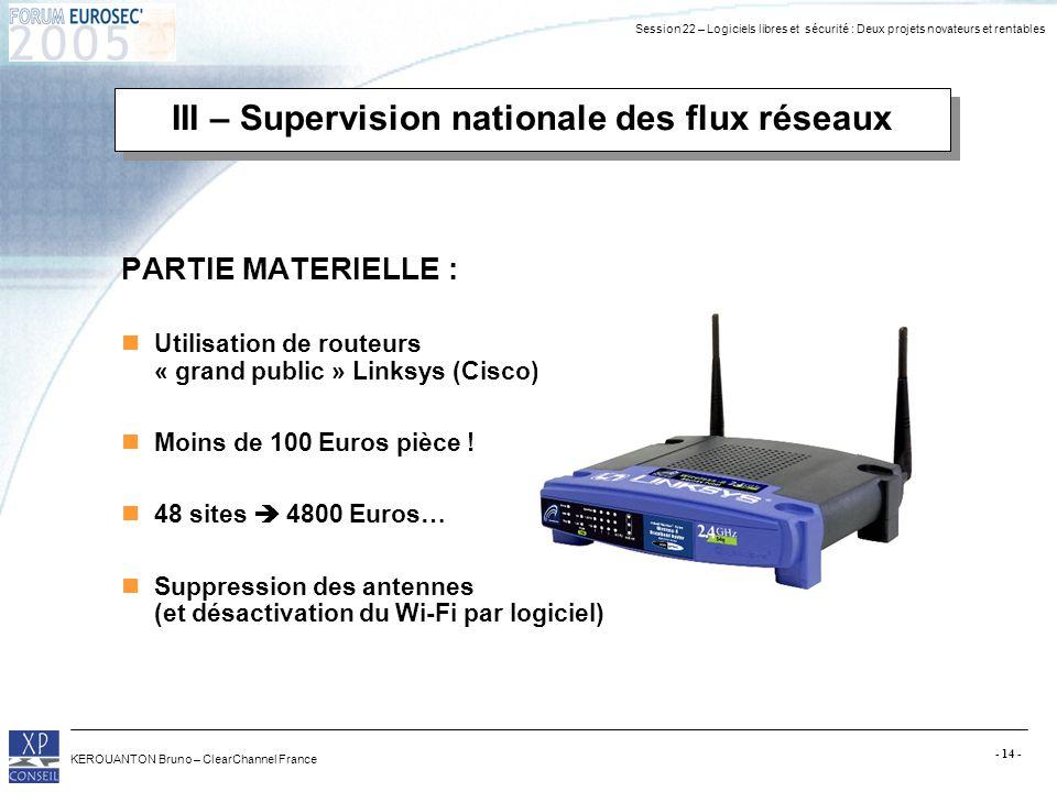Session 22 – Logiciels libres et sécurité : Deux projets novateurs et rentables KEROUANTON Bruno – ClearChannel France - 14 - III – Supervision nation