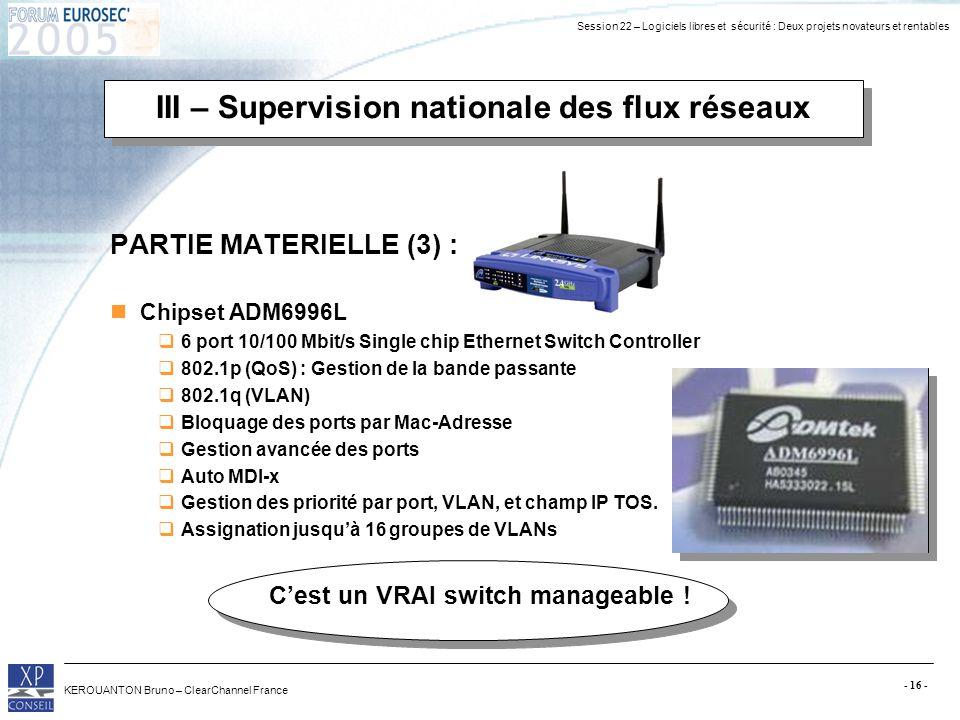 Session 22 – Logiciels libres et sécurité : Deux projets novateurs et rentables KEROUANTON Bruno – ClearChannel France - 16 - PARTIE MATERIELLE (3) :