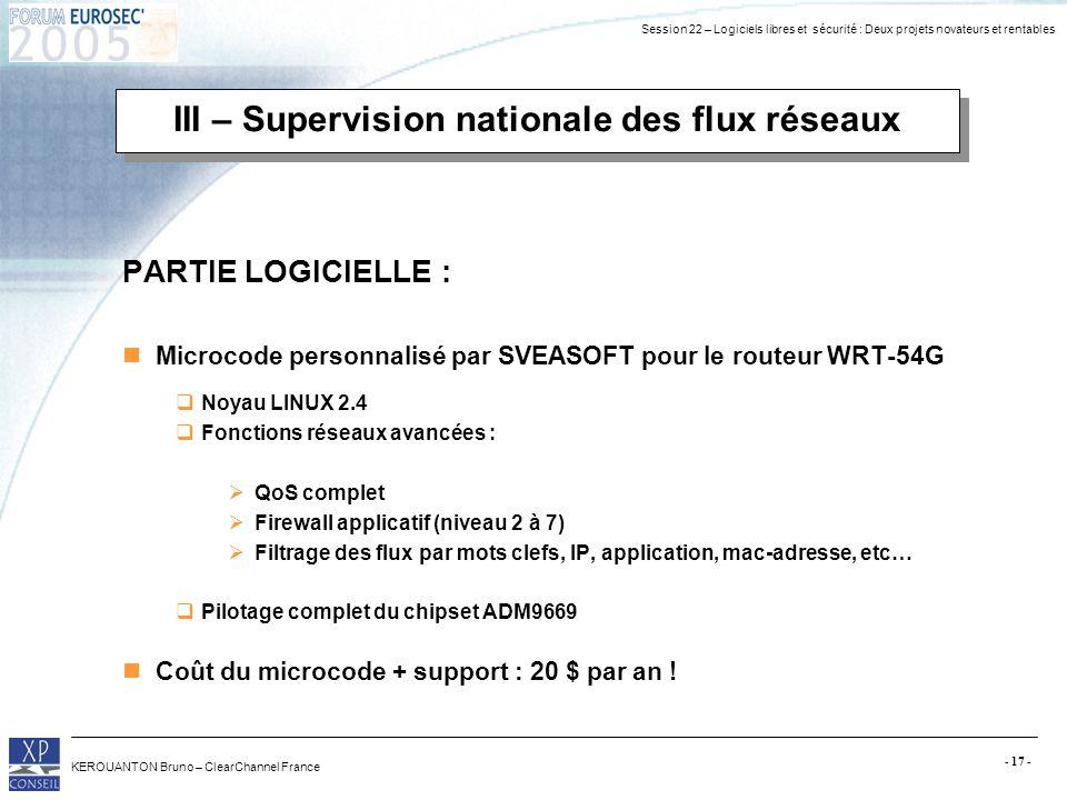 Session 22 – Logiciels libres et sécurité : Deux projets novateurs et rentables KEROUANTON Bruno – ClearChannel France - 17 - III – Supervision nation