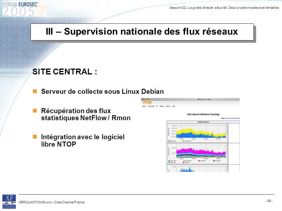 Session 22 – Logiciels libres et sécurité : Deux projets novateurs et rentables KEROUANTON Bruno – ClearChannel France - 18 - III – Supervision nation