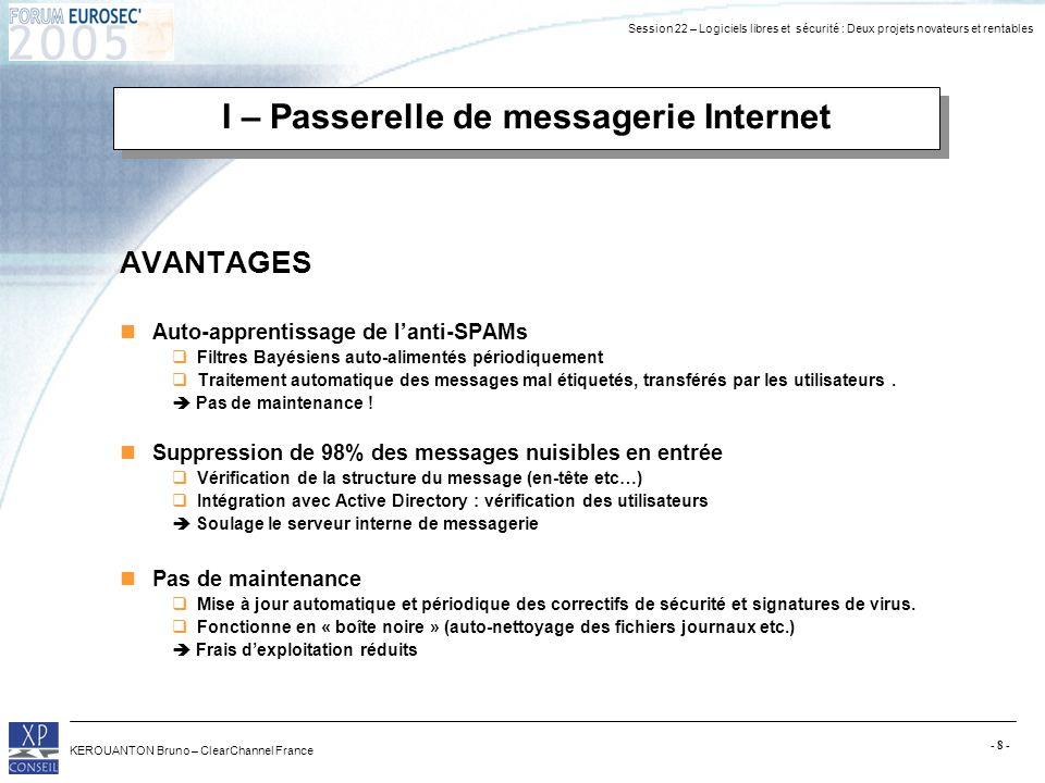 Session 22 – Logiciels libres et sécurité : Deux projets novateurs et rentables KEROUANTON Bruno – ClearChannel France - 8 - I – Passerelle de message