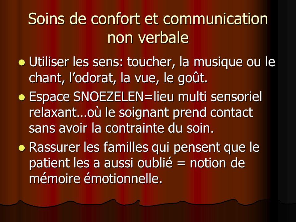 Soins de confort et communication non verbale Utiliser les sens: toucher, la musique ou le chant, lodorat, la vue, le goût. Utiliser les sens: toucher