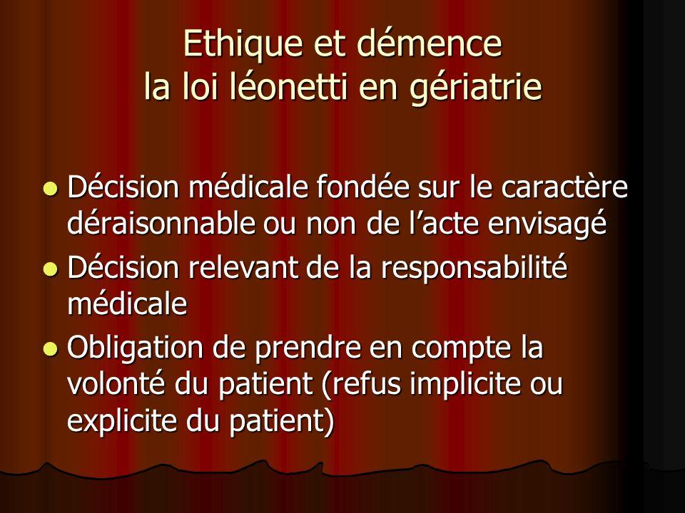 Ethique et démence la loi léonetti en gériatrie Décision médicale fondée sur le caractère déraisonnable ou non de lacte envisagé Décision médicale fon