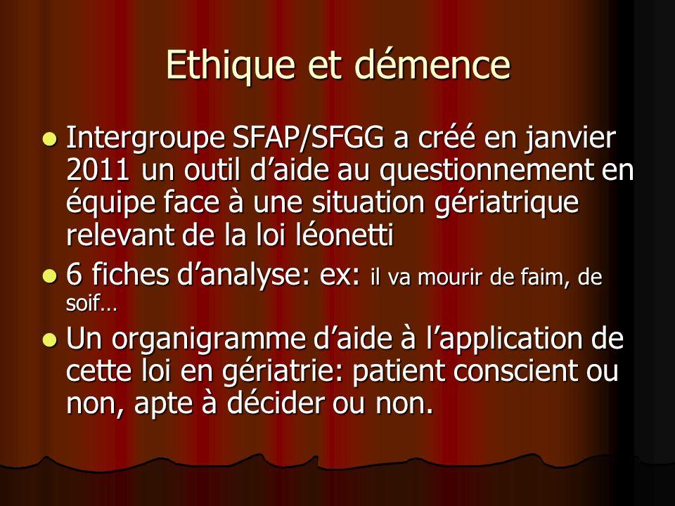 Ethique et démence Intergroupe SFAP/SFGG a créé en janvier 2011 un outil daide au questionnement en équipe face à une situation gériatrique relevant d
