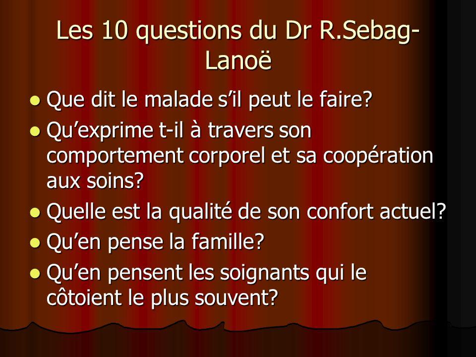 Les 10 questions du Dr R.Sebag- Lanoë Que dit le malade sil peut le faire? Que dit le malade sil peut le faire? Quexprime t-il à travers son comportem
