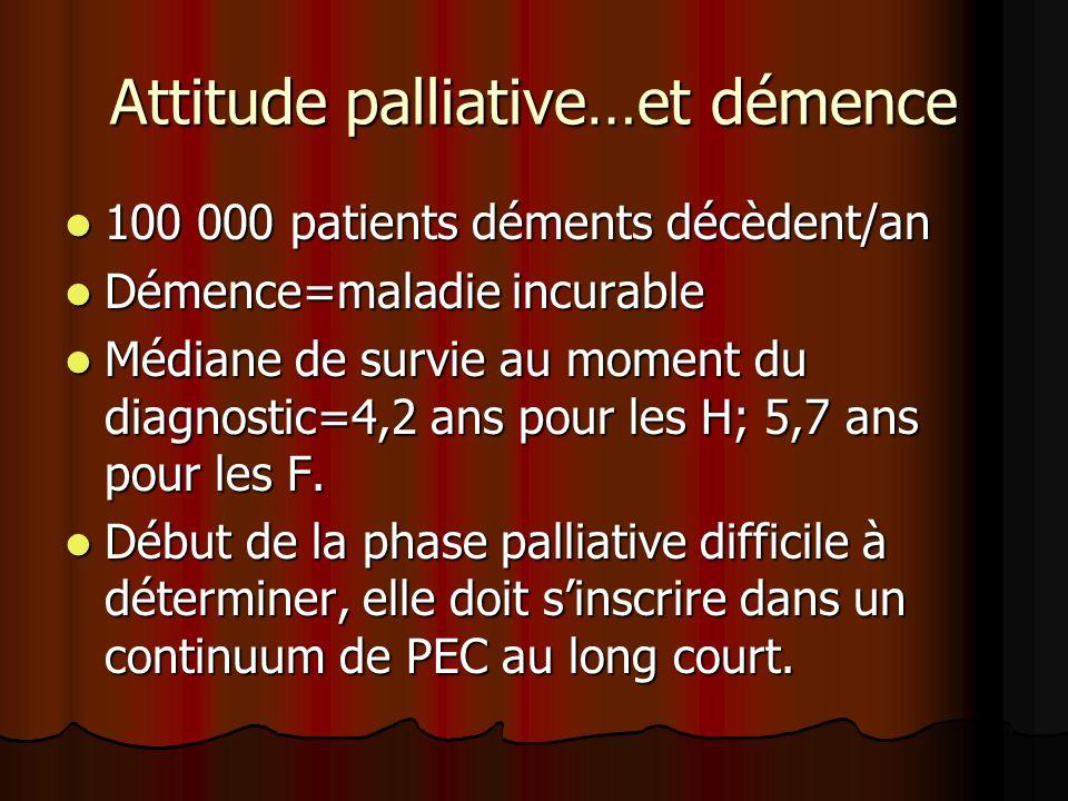 Attitude palliative…et démence 100 000 patients déments décèdent/an 100 000 patients déments décèdent/an Démence=maladie incurable Démence=maladie incurable Médiane de survie au moment du diagnostic=4,2 ans pour les H; 5,7 ans pour les F.
