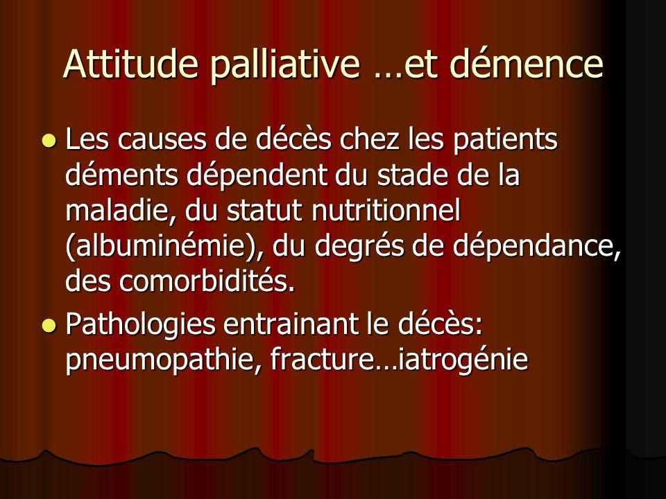 Attitude palliative …et démence Les causes de décès chez les patients déments dépendent du stade de la maladie, du statut nutritionnel (albuminémie),