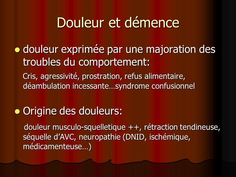 Douleur et démence Evaluation de la douleur : DOLOPLUS 2 basée sur lobservation du comportement (retentissements somatique, psycho-moteur, psychosocial), ALGOPLUS.