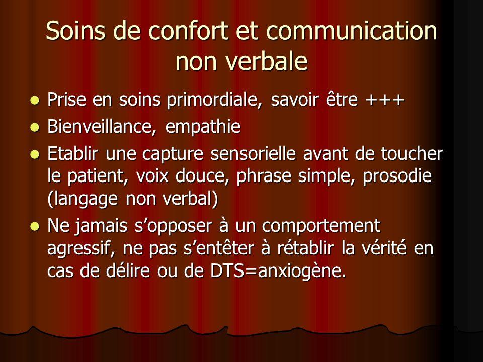 Soins de confort et communication non verbale Prise en soins primordiale, savoir être +++ Prise en soins primordiale, savoir être +++ Bienveillance, e
