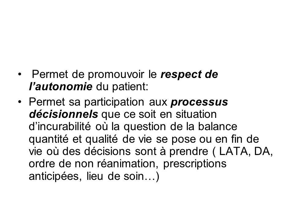 Permet de promouvoir le respect de lautonomie du patient: Permet sa participation aux processus décisionnels que ce soit en situation dincurabilité où