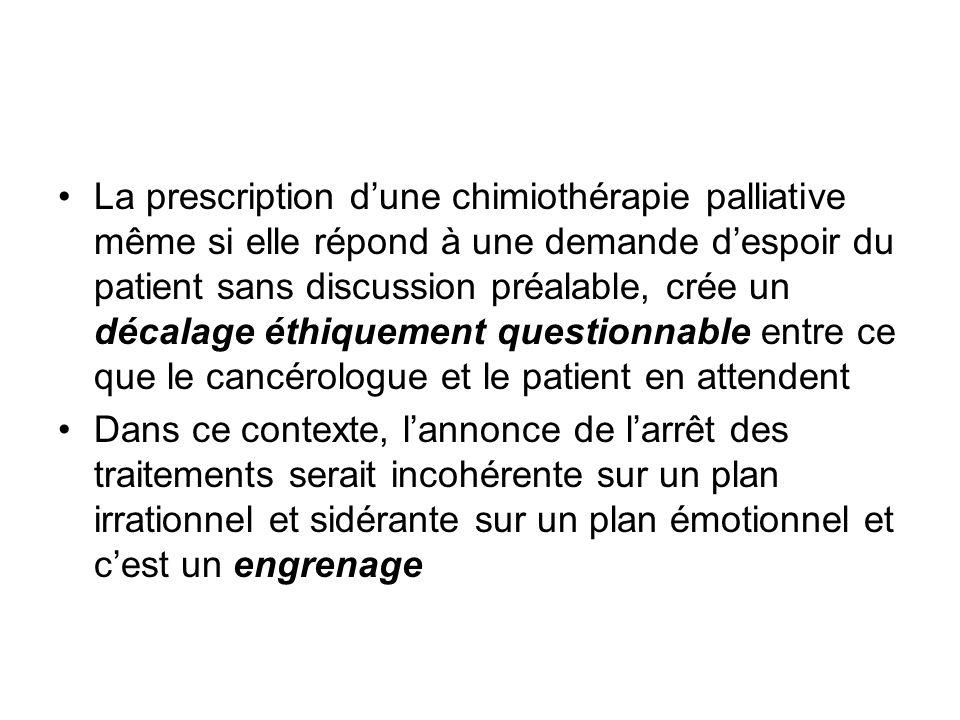 La prescription dune chimiothérapie palliative même si elle répond à une demande despoir du patient sans discussion préalable, crée un décalage éthiqu