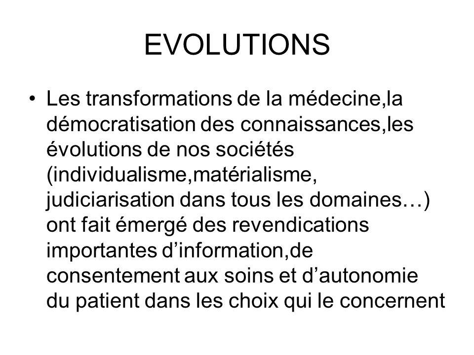 EVOLUTIONS Les transformations de la médecine,la démocratisation des connaissances,les évolutions de nos sociétés (individualisme,matérialisme, judici