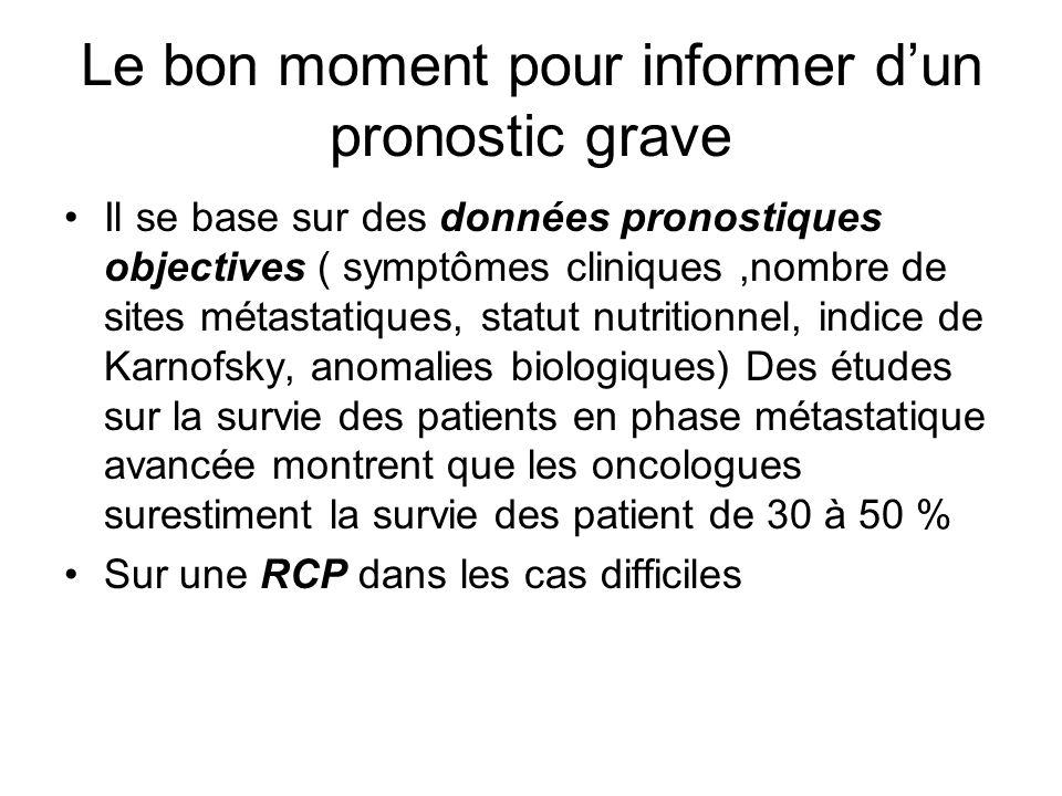 Le bon moment pour informer dun pronostic grave Il se base sur des données pronostiques objectives ( symptômes cliniques,nombre de sites métastatiques