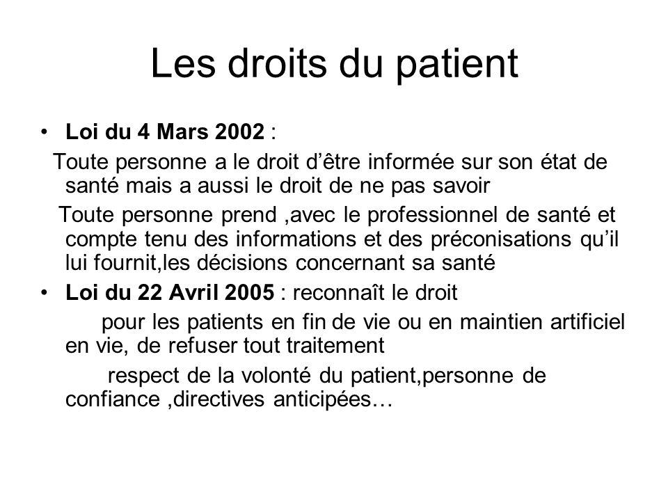 Les droits du patient Loi du 4 Mars 2002 : Toute personne a le droit dêtre informée sur son état de santé mais a aussi le droit de ne pas savoir Toute