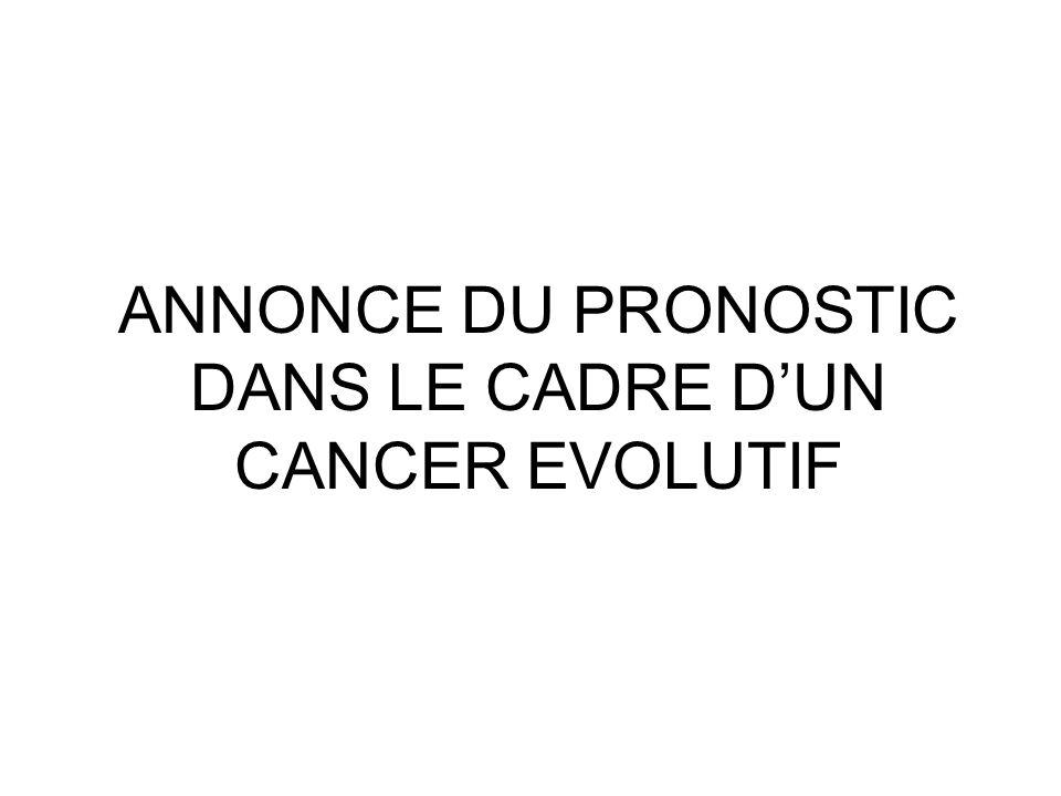 ANNONCE DU PRONOSTIC DANS LE CADRE DUN CANCER EVOLUTIF