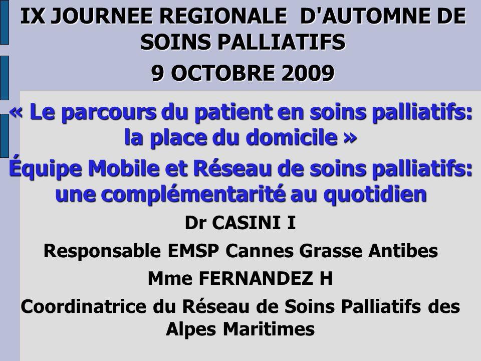 Complémentarité Réseau Équipe Mobile de SP L approche des soins palliatifs s intègre parfaitement dans le cadre d une organisation en réseau de santé.