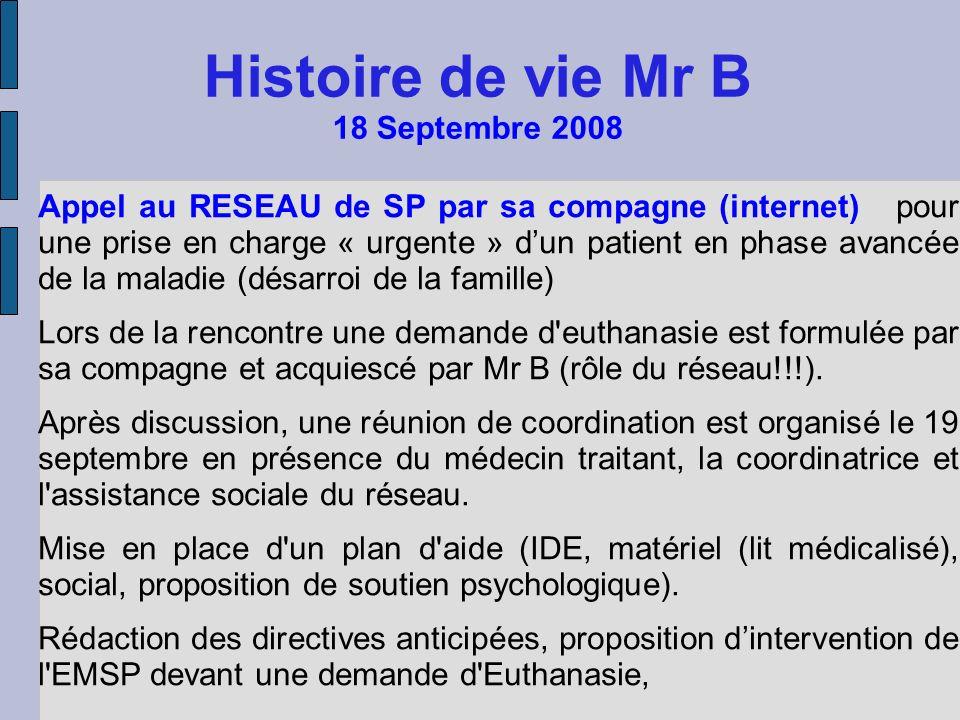 Histoire de vie Mr B 18 Septembre 2008 Appel au RESEAU de SP par sa compagne (internet) pour une prise en charge « urgente » dun patient en phase avan