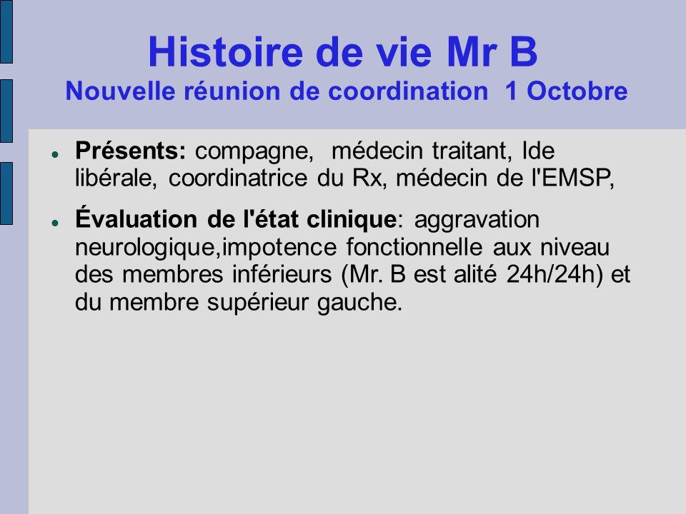 Histoire de vie Mr B Nouvelle réunion de coordination 1 Octobre Présents: compagne, médecin traitant, Ide libérale, coordinatrice du Rx, médecin de l'