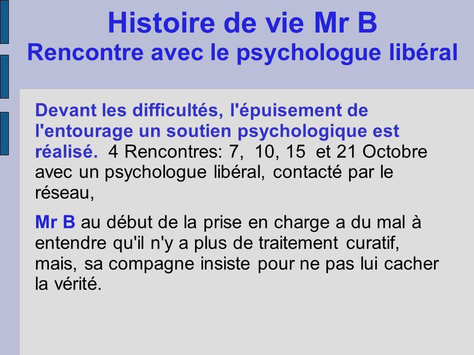 Histoire de vie Mr B Rencontre avec le psychologue libéral Devant les difficultés, l'épuisement de l'entourage un soutien psychologique est réalisé. 4