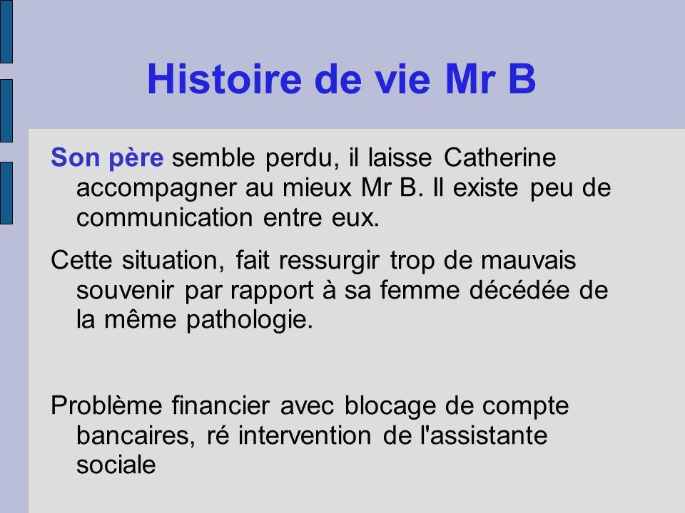 Histoire de vie Mr B Son père semble perdu, il laisse Catherine accompagner au mieux Mr B. Il existe peu de communication entre eux. Cette situation,