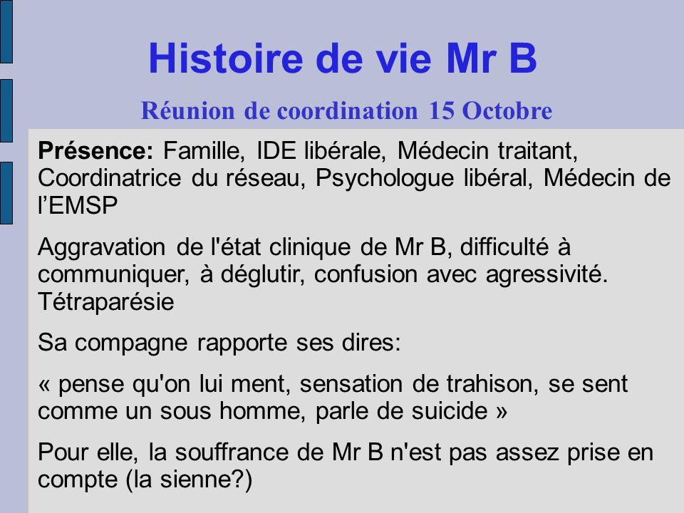 Histoire de vie Mr B Réunion de coordination 15 Octobre Présence: Famille, IDE libérale, Médecin traitant, Coordinatrice du réseau, Psychologue libéra