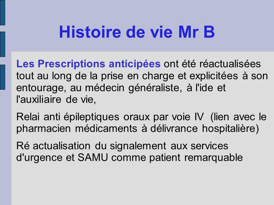 Histoire de vie Mr B Les Prescriptions anticipées ont été réactualisées tout au long de la prise en charge et explicitées à son entourage, au médecin