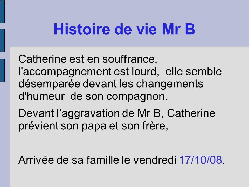 Histoire de vie Mr B Catherine est en souffrance, l'accompagnement est lourd, elle semble désemparée devant les changements d'humeur de son compagnon.