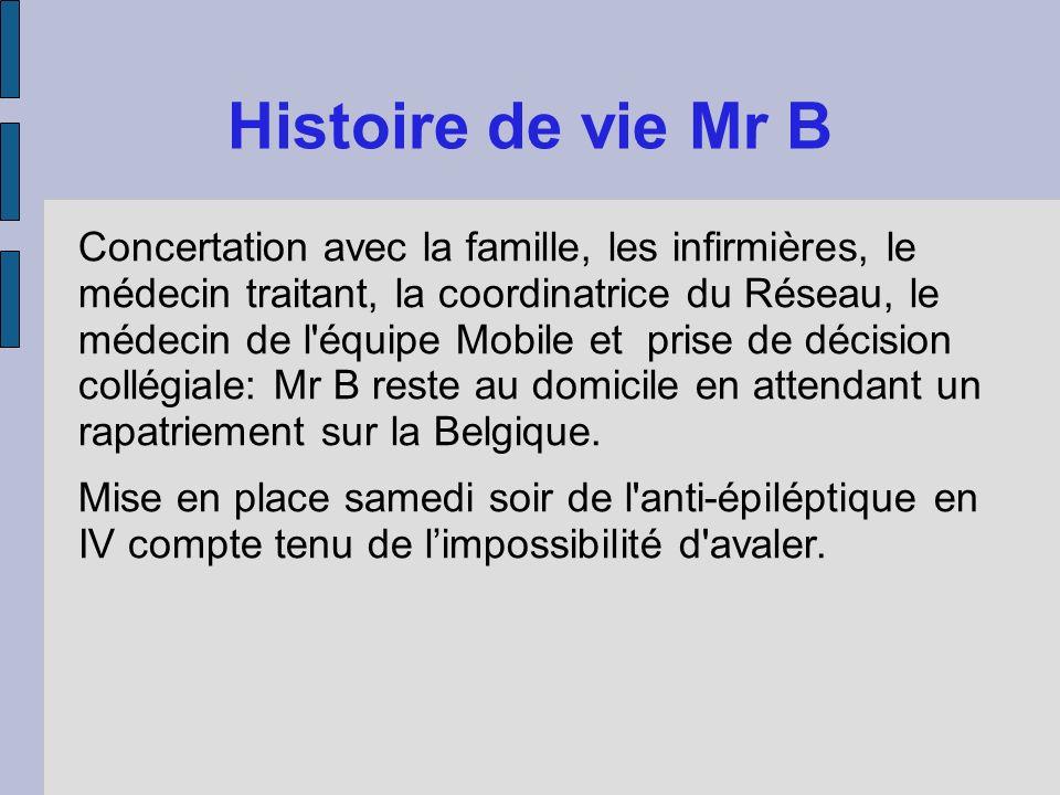 Histoire de vie Mr B Concertation avec la famille, les infirmières, le médecin traitant, la coordinatrice du Réseau, le médecin de l'équipe Mobile et