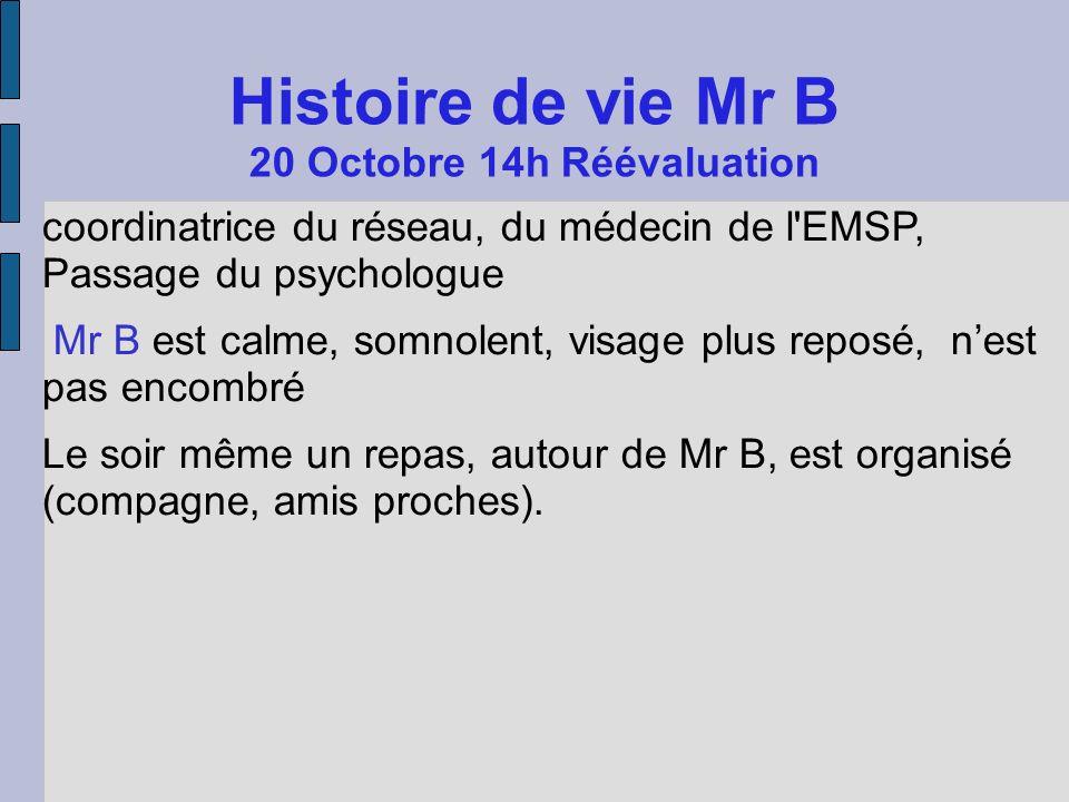 Histoire de vie Mr B 20 Octobre 14h Réévaluation coordinatrice du réseau, du médecin de l'EMSP, Passage du psychologue Mr B est calme, somnolent, visa