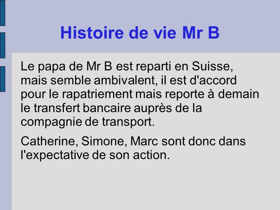 Histoire de vie Mr B Le papa de Mr B est reparti en Suisse, mais semble ambivalent, il est d'accord pour le rapatriement mais reporte à demain le tran