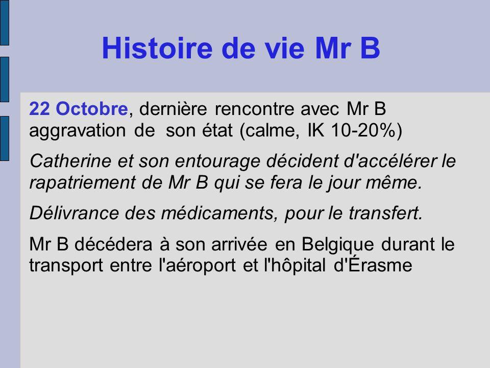22 Octobre, dernière rencontre avec Mr B aggravation de son état (calme, IK 10-20%) Catherine et son entourage décident d'accélérer le rapatriement de