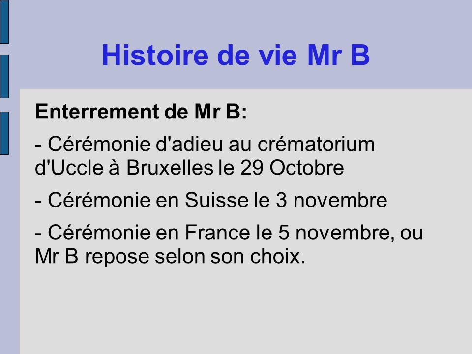Enterrement de Mr B: - Cérémonie d'adieu au crématorium d'Uccle à Bruxelles le 29 Octobre - Cérémonie en Suisse le 3 novembre - Cérémonie en France le