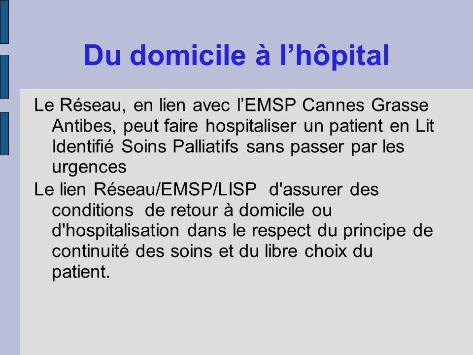 Du domicile à lhôpital Le Réseau, en lien avec lEMSP Cannes Grasse Antibes, peut faire hospitaliser un patient en Lit Identifié Soins Palliatifs sans