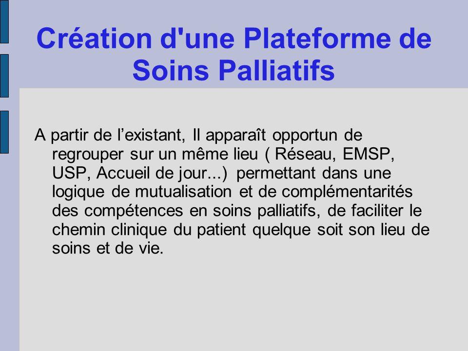Création d'une Plateforme de Soins Palliatifs A partir de lexistant, Il apparaît opportun de regrouper sur un même lieu ( Réseau, EMSP, USP, Accueil d