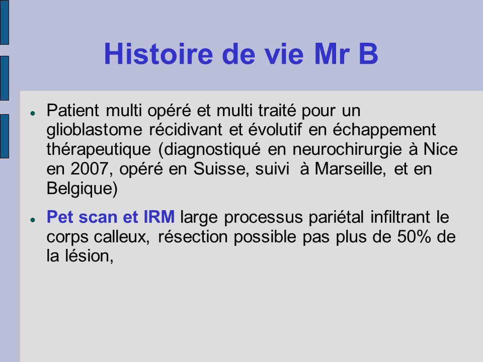Histoire de vie Mr B Patient multi opéré et multi traité pour un glioblastome récidivant et évolutif en échappement thérapeutique (diagnostiqué en neu