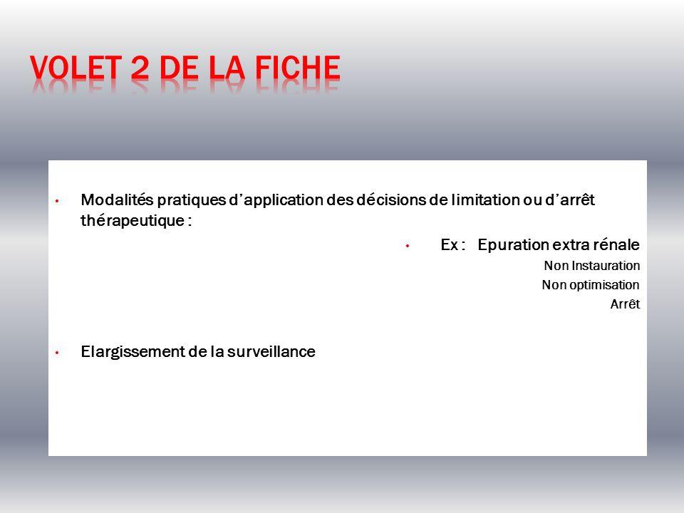 Modalités pratiques dapplication des décisions de limitation ou darrêt thérapeutique : Ex : Epuration extra rénale Non Instauration Non optimisation A