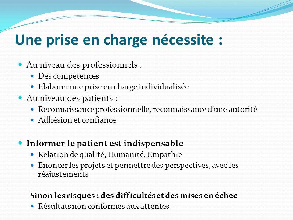 Une prise en charge nécessite : Au niveau des professionnels : Des compétences Elaborer une prise en charge individualisée Au niveau des patients : Re