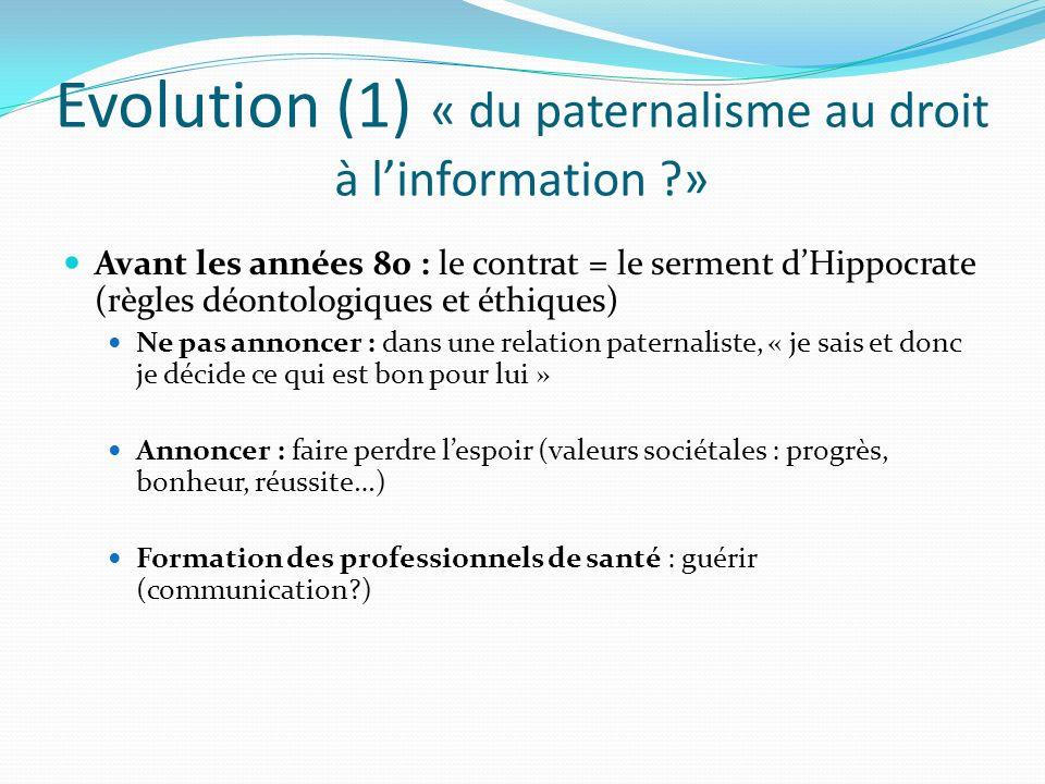 Evolution (1) « du paternalisme au droit à linformation ?» Avant les années 80 : le contrat = le serment dHippocrate (règles déontologiques et éthique