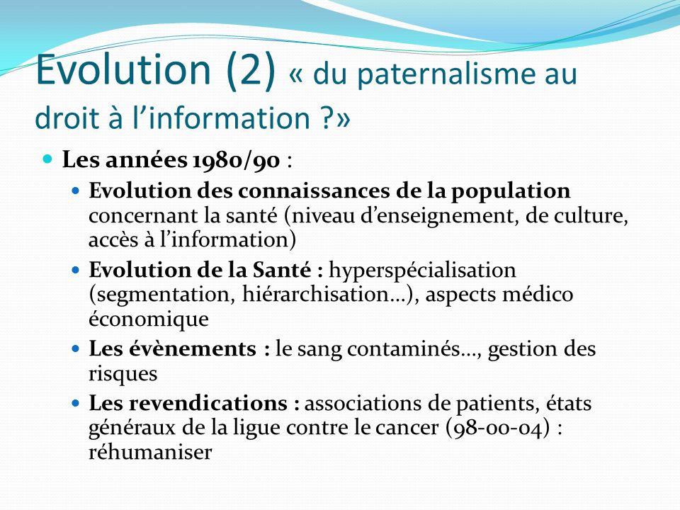 Evolution (2) « du paternalisme au droit à linformation ?» Les années 1980/90 : Evolution des connaissances de la population concernant la santé (nive