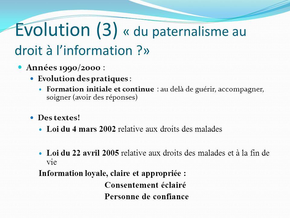 Evolution (3) « du paternalisme au droit à linformation ?» Années 1990/2000 : Evolution des pratiques : Formation initiale et continue : au delà de gu