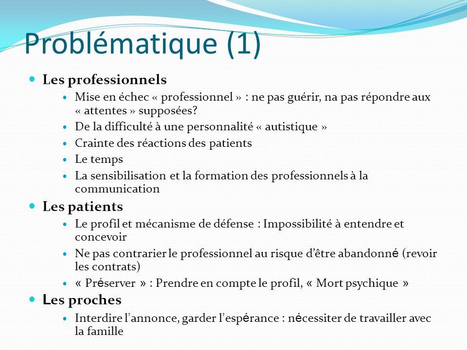 Problématique (1) Les professionnels Mise en échec « professionnel » : ne pas guérir, na pas répondre aux « attentes » supposées? De la difficulté à u