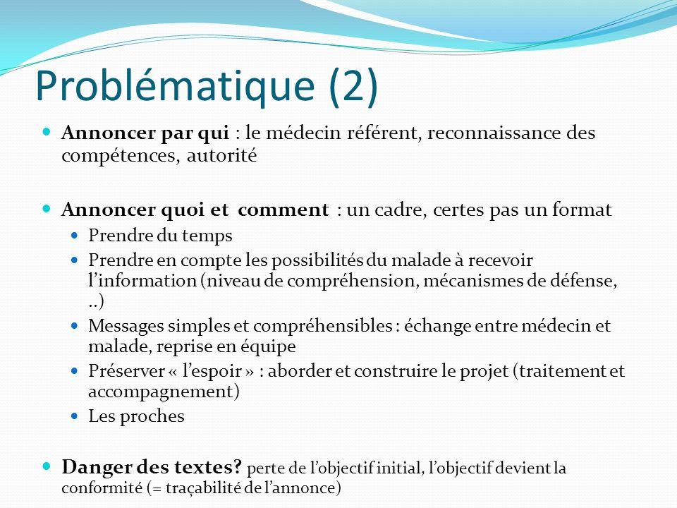 Problématique (2) Annoncer par qui : le médecin référent, reconnaissance des compétences, autorité Annoncer quoi et comment : un cadre, certes pas un