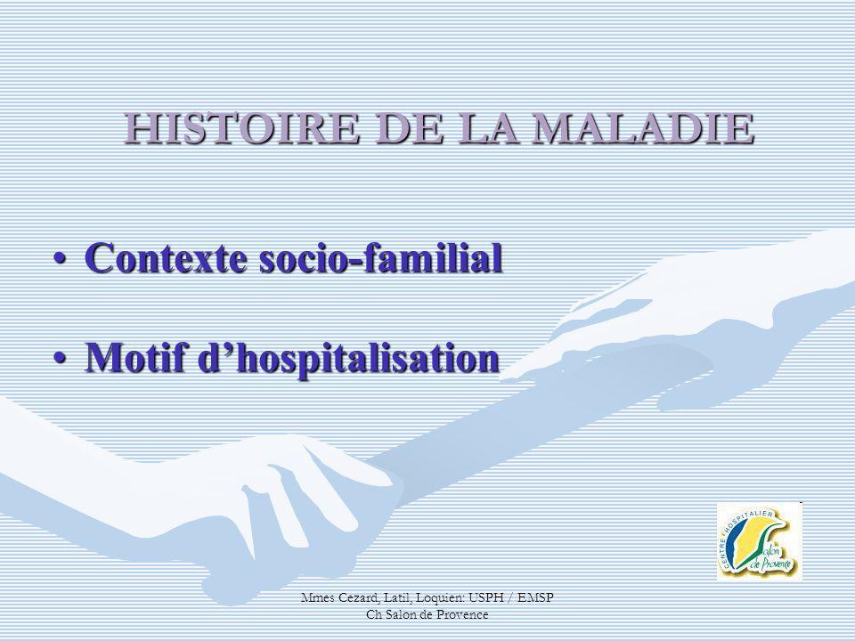 Mmes Cezard, Latil, Loquien: USPH / EMSP Ch Salon de Provence HISTOIRE DE LA MALADIE Contexte socio-familialContexte socio-familial Motif dhospitalisa