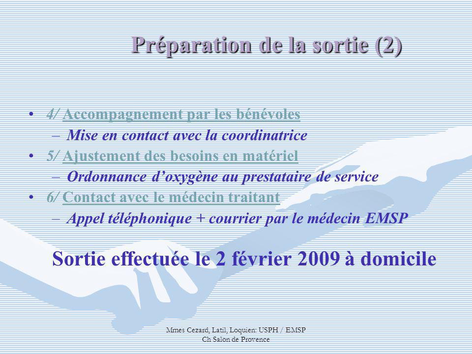 Mmes Cezard, Latil, Loquien: USPH / EMSP Ch Salon de Provence Préparation de la sortie (2) 4/ Accompagnement par les bénévoles – –Mise en contact avec